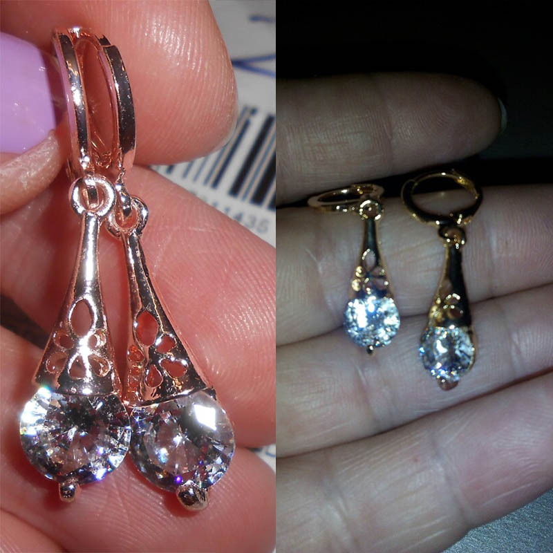 Free shipping White CZ Stone Crystal Pierced Dangle Drop Earrings Jewelry  2018 New Fashion Hot Women/Girl's Rose Gold-color Gift