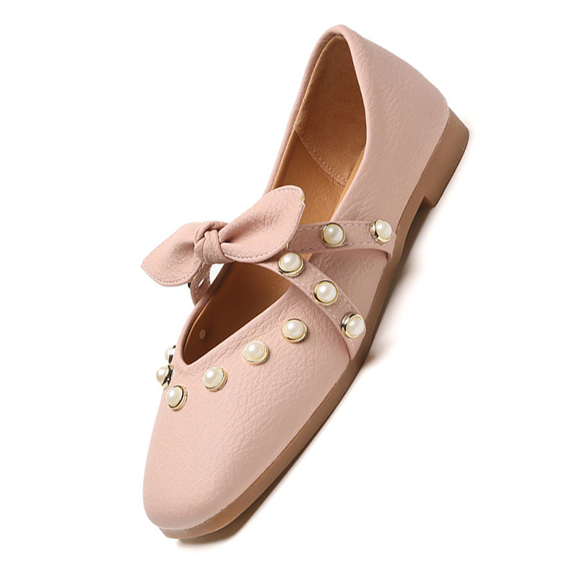 Slip khaki Sur pink Perle Femelle Joli De Robe Paresseux Bureau Beige Chaussures Lin Femmes Noeud Papillon Carré Peu Mode Mocassins Profonde Roi Bout Appartements wFOxqgfgC