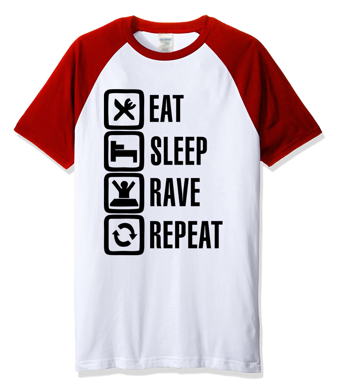 New 2018 summer T-shirts for men Eat Sleep Rave Repeat funny tshirt letter print fashion fitness brand raglan t shirt men kpop
