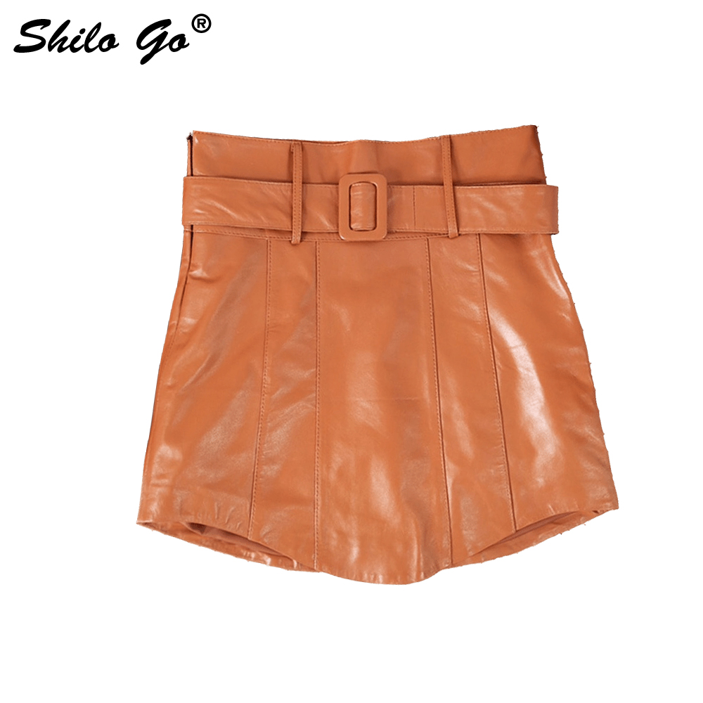 Leather Shorts Womens Summer Fashion Sheepskin Genuine Leather Shorts Belt High Waist Casual Concise Sexy Shorts