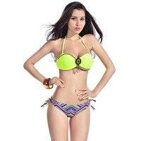 New Ethnic Style Pattern Sexy Women Push Up Bikini Set Folk Decoration Vintage Bandeau Swimsuit Knit