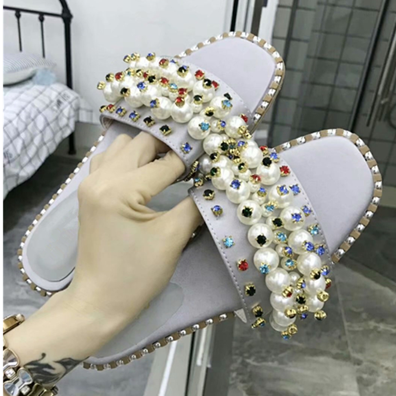 Aliexpress.com   Buy Luxury Brand Slik Rhietoe Pearl Women Slippers Peep Toe  Slip On Flats Slides Runway Outfit Gldaitor Casual Shoes Woman Mules 39  from ... 5f7abfcc2651