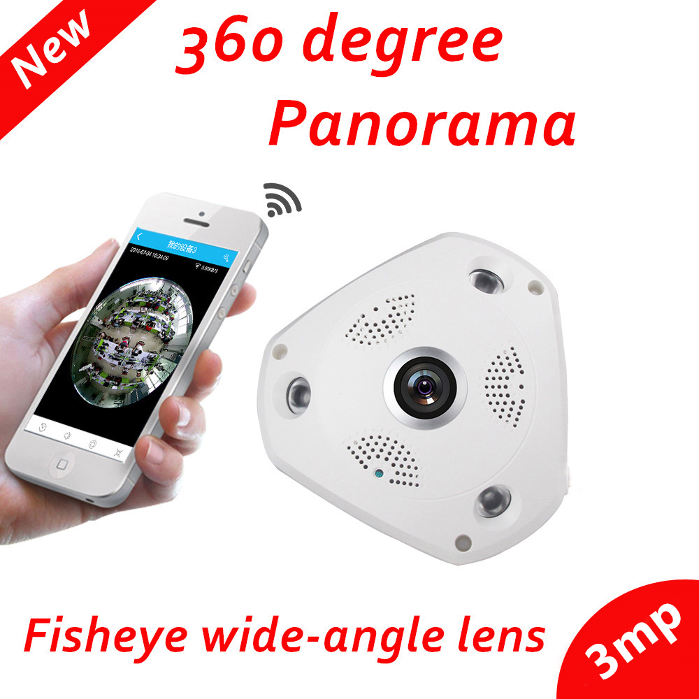 FishEye VRCAM 3MP 1080P 360 Degree Panoramic IP Camera Night Vision P2P 2-way voice Security Wireless Camera wifi