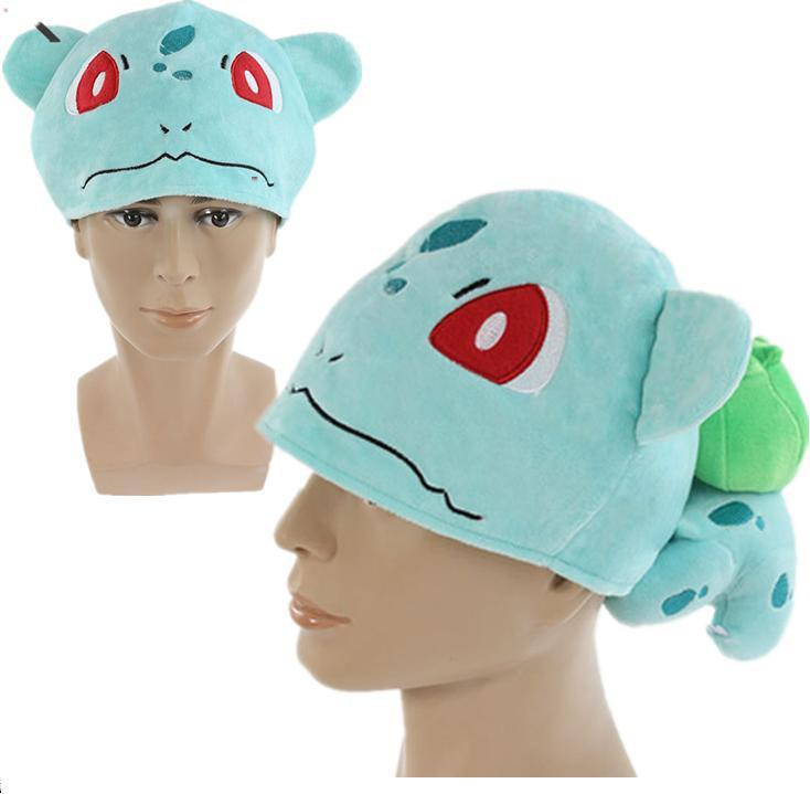 Poke mon Bulbasaur Cosplay Cap Children Warm Plush Bulbasaur Hat Gift for Christmas Retail 1PCS