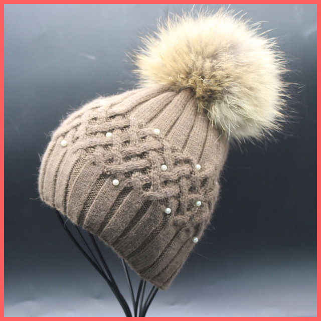 New 100% raccoon fur Autumn and winter large 15cm ball Rabbit wool cap Keep warm pointy hat woman