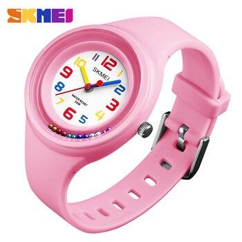 SKMEI Fashion Casual Children Watch Quartz Watch 50 Meters Anti-Freeze Children Clock Boy Schoolgirl Watch 1386 Kids Watches