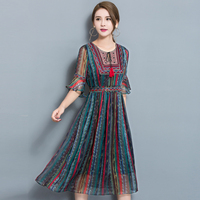 New Summer Fashion Women S Clothing Striped Printing Chiffon Rayon A Line Long Dress O Neck