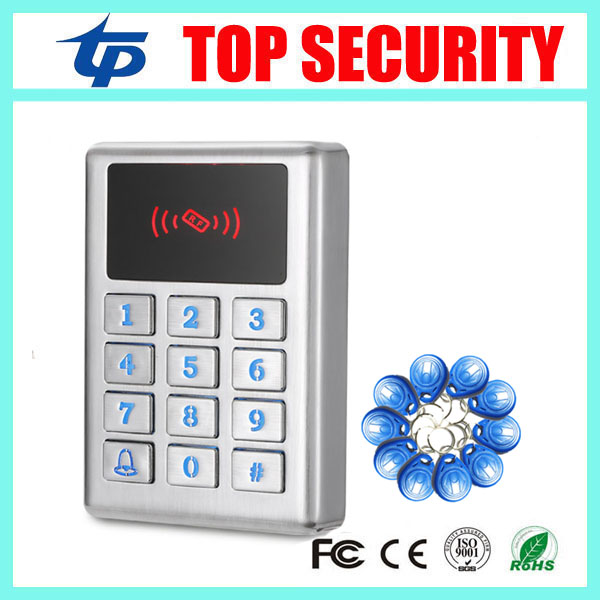 Standalone door access control system 125KHZ RFID card metal case door access controller surface waterproof card reader M11 rfid ip65 waterproof access control touch metal keypad standalone 125khz card reader for door access control system 8000 users