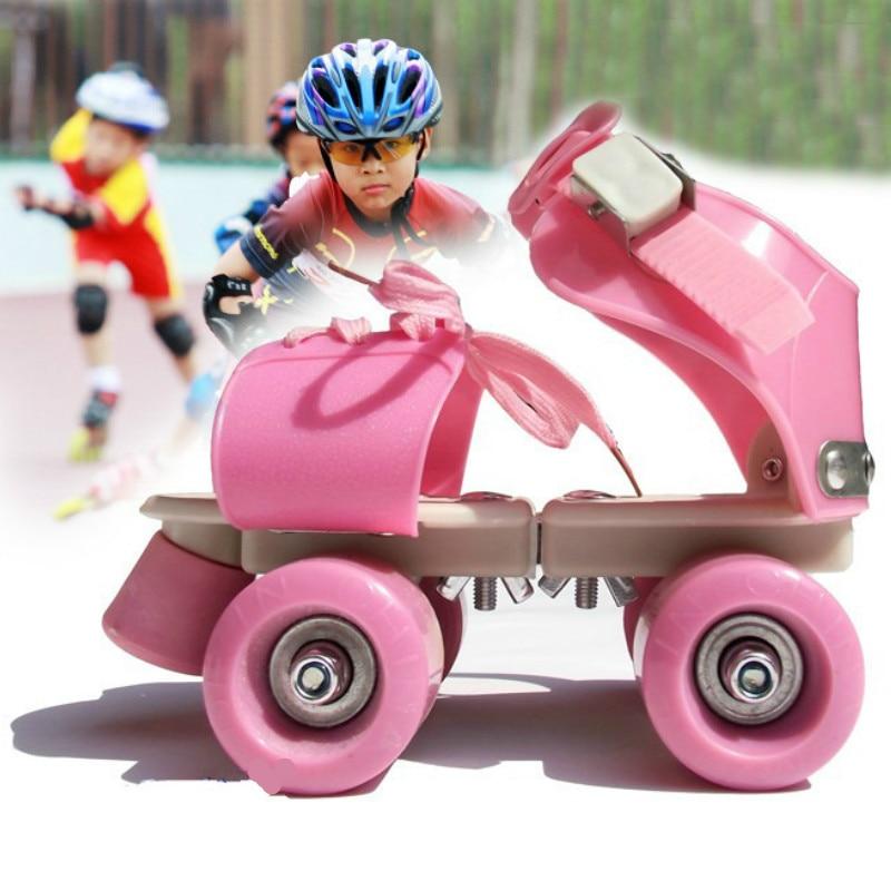 Children Double Row Skates Roller Skates Double Row 4 Wheel Skating Shoes Adjustable Size Sliding Slalom Inline Skates Kids Gift