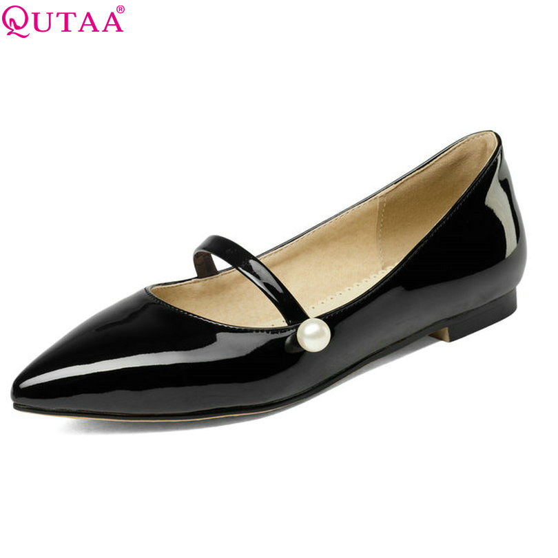 QUTAA 2017 Women Pumps Summer Slip On Ladies Shoe Square Low Heel PU Patent Leather Beading White Woman Wedding Shoes Size 34-43