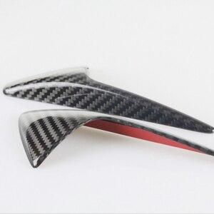 Image 4 - Seite Kamera Kotflügel Marker Schutz Deckt für Tesla modell 3 S X 2013 2019 Real Carbon Fiber Dekorative Zubehör