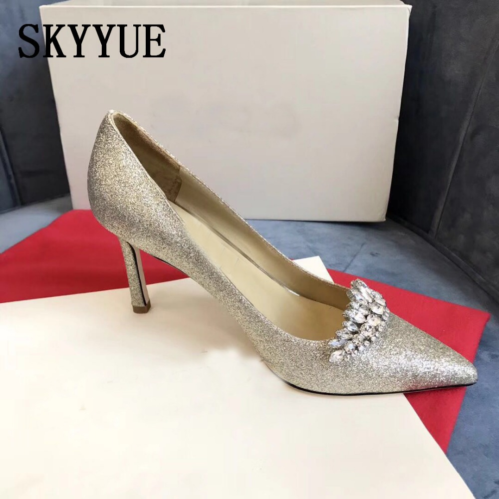 2018 New Genuine Leather Crystal Beading 8.5CM HIgh Heels Sexy Pointed Toe Slip On Women Summer Party Brand Pumps Wedding Shoes new arrival genuine leather pointed toe high heels stiletto shallow metal buckle pumps slip on women brand wedding shoes l8f3
