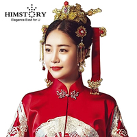 HIMSTORY Chinese Hanbok Traditional Vintage Wedding Hair Jewelry Korean Designs Hairwear Phoneix Coronet Bridal Hair Accessories