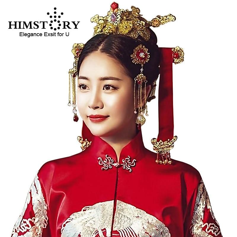 HIMSTORY Chinese Hanbok Traditional Vintage Wedding Hair Jewelry Korean Designs Hairwear Phoneix Coronet Bridal Hair Accessories люстра 592 717 03 velante для прихожей или коридора для прихожей