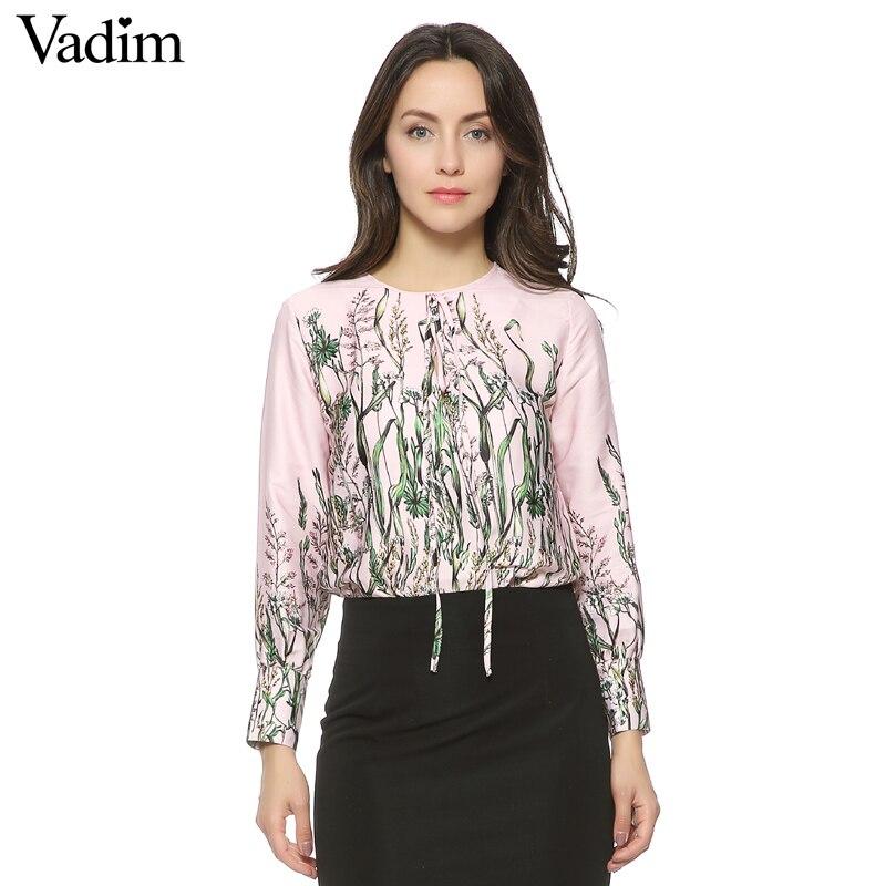 Objective Women Vintage Floral Tie Shirt Jumpsuit Long Sleeve Elastic Waist Retro Blouse Fashion Streetwear Casual Tops Blusas Lt1253 Blouses & Shirts