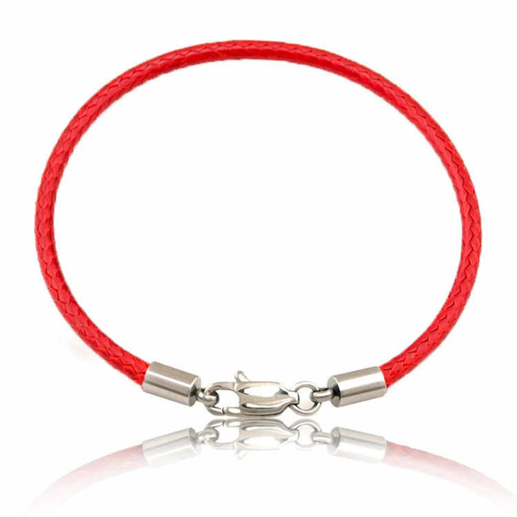 Модный классический кожаный черный браслет с Красной веревкой, ювелирные изделия с красной нитью, браслет с красной нитью для женщин и мужчин, браслеты с омаром