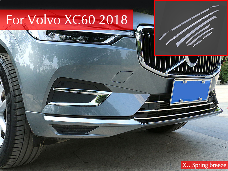 Car Front Bottom Bumper Molding Racing Grill Grille Trim Cover Car Styling For Volvo XC60 2018 racing grills version aluminum alloy car styling refit grille air intake grid radiator grill for kla k5 2012 14
