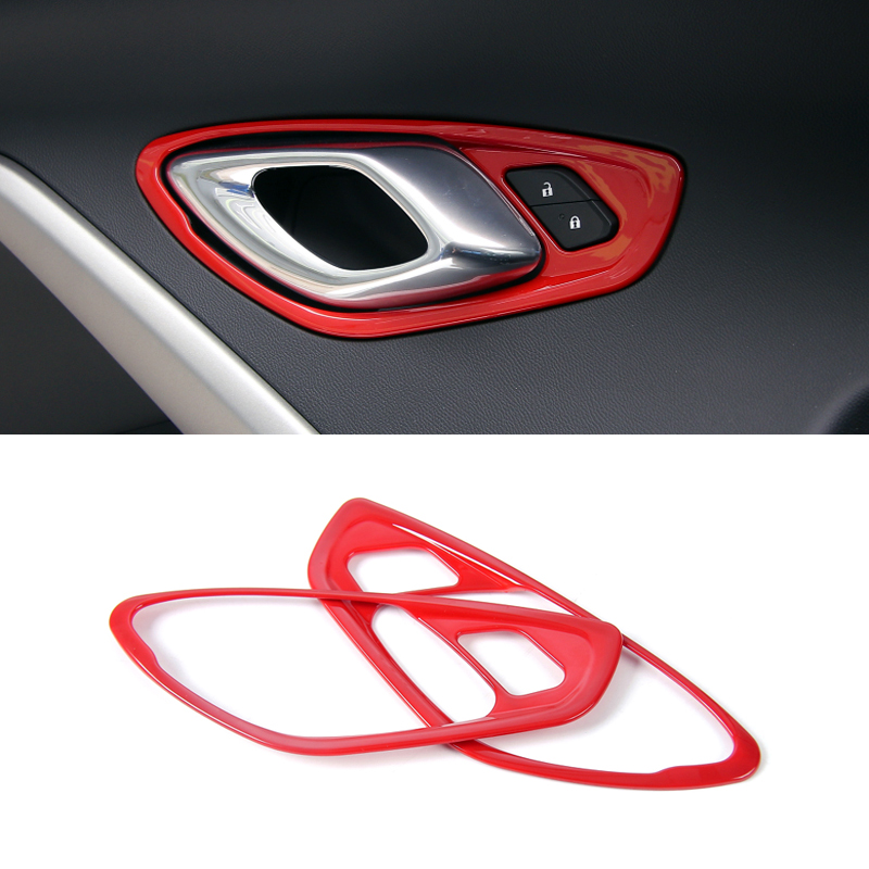 Quality !!! for Chevrolet Camaro 2017 2018 ABS Car Styling Interior Accessories Inner Door Handle Bowl Decor Cover Trim 2PCS qhcp carbon fiber car styling door handle cover sticker trim frame for chevrolet camaro 2016 exterior accessories free shipping