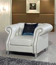 Un cómodo y agradable sala de estar silla de cuero genuino real postmodern silla sofá de 1 plazas con botones de cristal