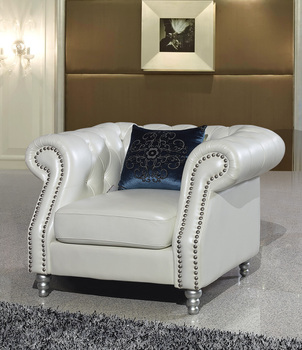 A comfortable and leisurely living room chair real genuine leather sofa chair 1 seater postmodern with crystal buttons цена 2017
