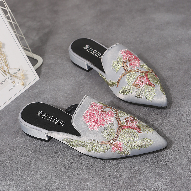 Moxxy Spring Retro Chinese Flowers Slippers Women Mules Slip On Shoes Flat Sandals Black Ladies Shoes Woman Slides Zapatos Mujer