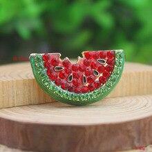 P168-534 10 шт./лот бесплатная доставка мода милый золотой красный и зеленый кристалл горного хрусталя летом арбуз брошь Pin