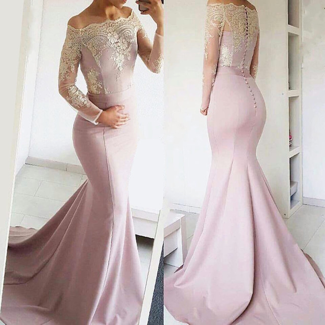 e7bdc41108284f Sexy Avondjurk 2017 custom made Lace jurken Lange Mouwen Zeemeermin  bruiloft jurken hot verkoop lange frmal