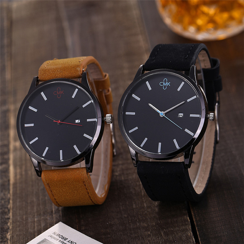 New Brand Gold Mens Watches Top Brand Luxury PU Leather Wristwatch Mens Gift Quartz Watch Discount Relogio Masculino #4M03