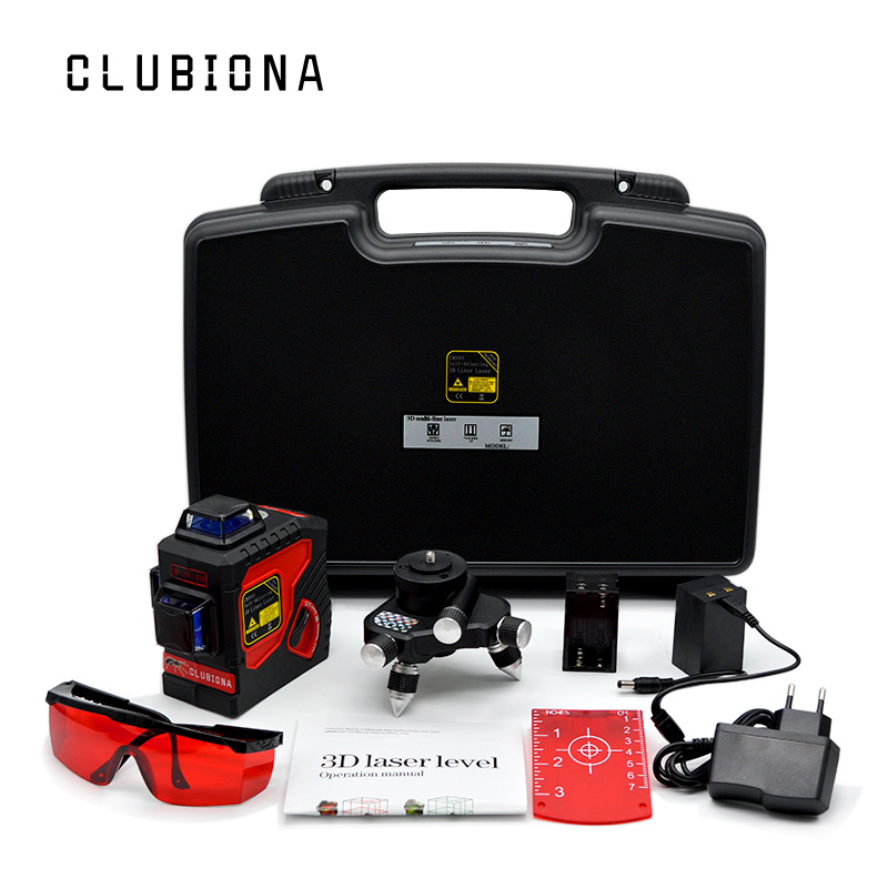 EU plug outdoor available LOCKABLE slash functional Self-leveling 360 rotary 12 red lines RED beam 3D line laser