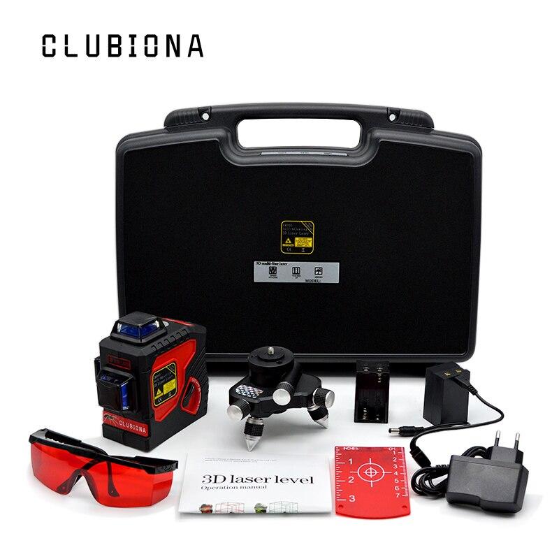 UE plug extérieure disponible VERROUILLABLE slash fonctionnelle Auto-nivellement 360 rotatif 12 rouge lignes ROUGE faisceau 3D ligne laser