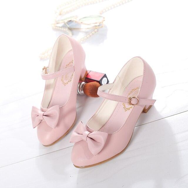SKHEK בנות נסיכת שמלת נעלי 2019 חדש Bowknot ילדי נסיכת סנדלי עקבים גבוהים ילדי ריקודי נעלי גודל 28 ~ 37 ורוד לבן