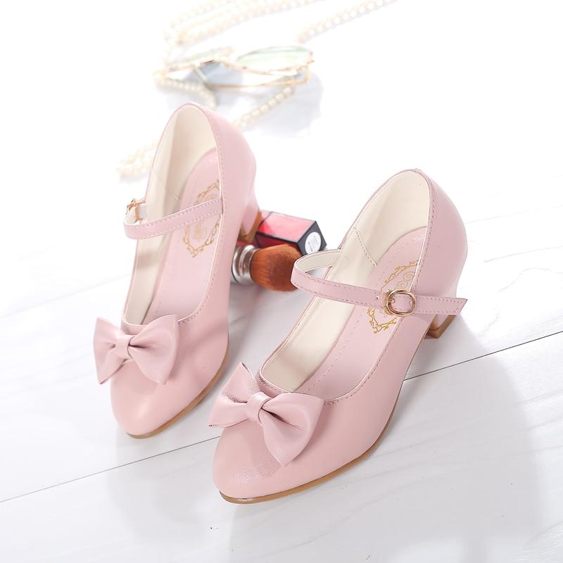 SKHEK Girls Princess Dress Shoes 2019 New Bowknot Children Princess Sandals High Heels Dancing Kids Shoes Size 28~37 Pink White