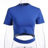 2017 Sexy Solid Blue Half High Neck Hollow Bandage Skinny Crop Tops T Shirts Women Short