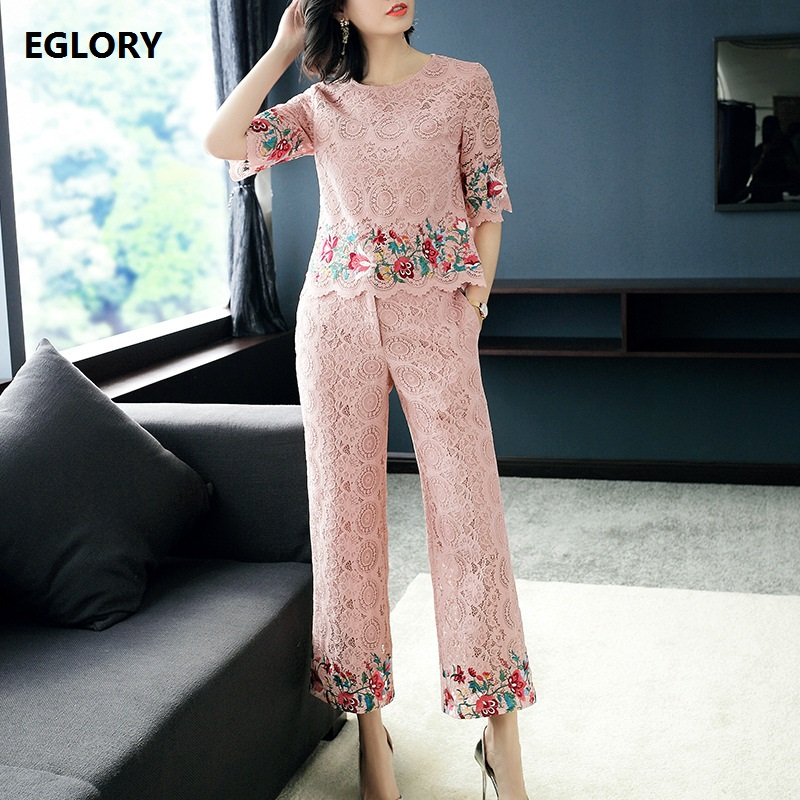 2018 Spring Women Pant Suits 2 Two Piece Sets Floral Embroidery Lace Tops+Wide Leg Pink Lace Pant Sets Tracksuits Female Outfits red sexy floral lace two piece outfits