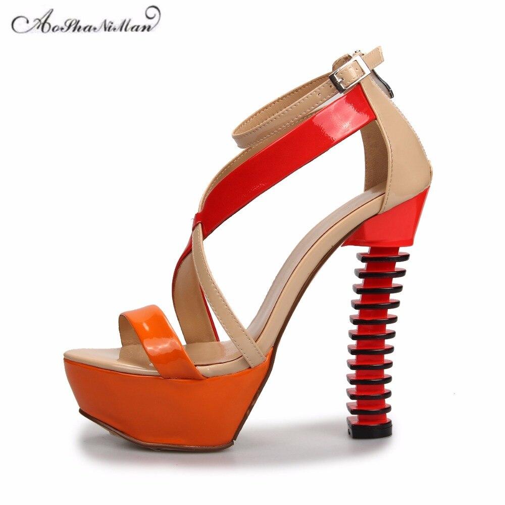 2018 Summer brand design women platform sandals Fashion strange heel colors summer shoes woman patent leather party pumps 35-41 fashion women s pumps with strange heels and patent leather design