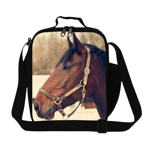 Dispalang moda animal print bolsa de almuerzo mens pequeña bolsa de caballo de los niños lonchera térmica de alimentos para niños niños lancheira bolsa de picnic