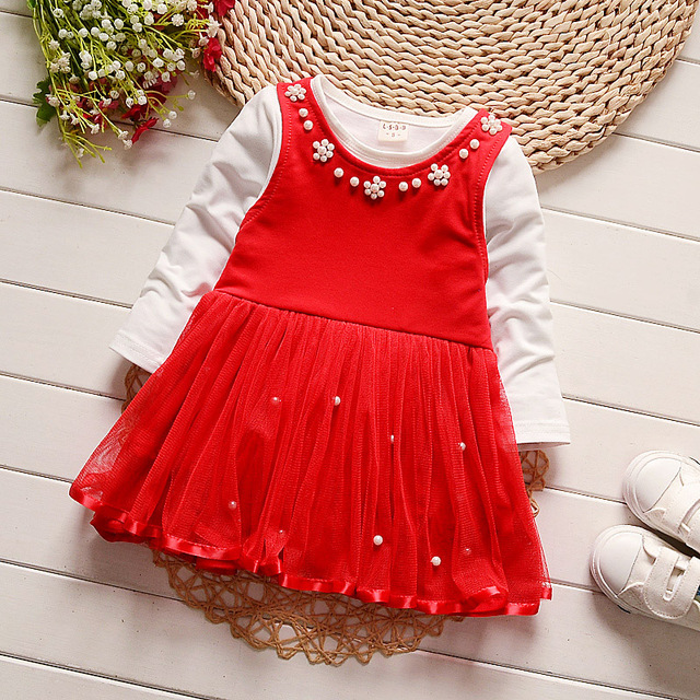 iAiRAY baby girl clothes infant toddler red birthday dress long sleeve white shirt pearl decoration round neck dresses for girls