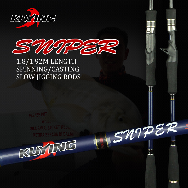 KUYING Sniper 1.8m 1.92m Light Slow Jigging Rod Casting Spinning Lure Carbon Fiber Sea Fishing Rods Cane Fish Pole 1.5 Sections free shipping by eems 2 10m kuying spinning fishing rod sea rod powerful bait casting carbon spining super hard fishing lure rod