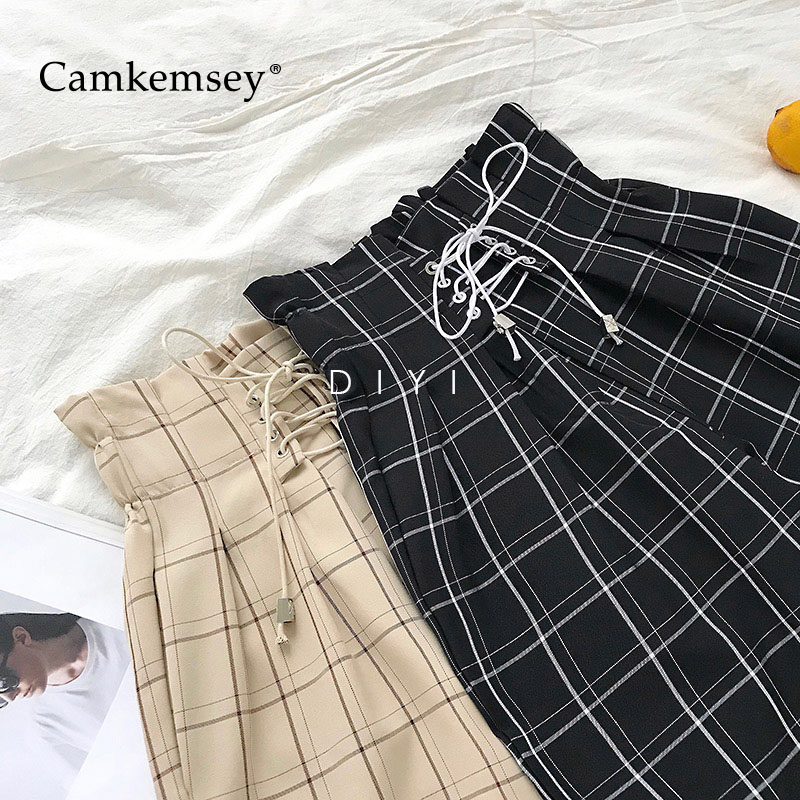 Camkemsey Harem Pants Lace-Up Plaid Harajuku Loose Japanese Ankle-Length High-Waist Fashion