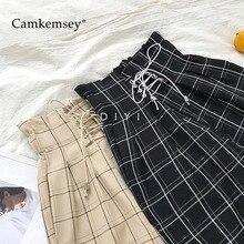 CamKemsey японские Харадзюку повседневные штаны женские модные на шнуровке с высокой талией по щиколотку свободные клетчатые шаровары