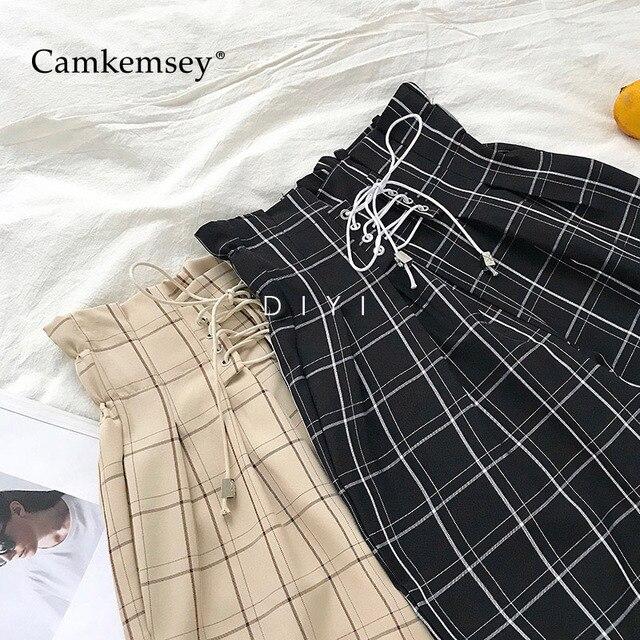 CamKemsey Japanese Harajuku Casual Pants Women 2019 Fashion Lace Up High Waist Ankle Length Loose Plaid Harem Pants 1