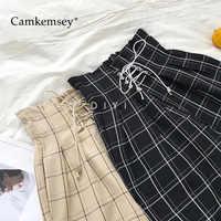 CamKemsey japonais Harajuku pantalons décontractés femmes 2019 mode à lacets taille haute cheville longueur lâche Plaid Harem pantalon