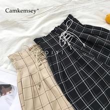 Camkemsey japonês harajuku calças casuais femininas 2020 moda rendas até cintura alta tornozelo comprimento solto xadrez harem calças