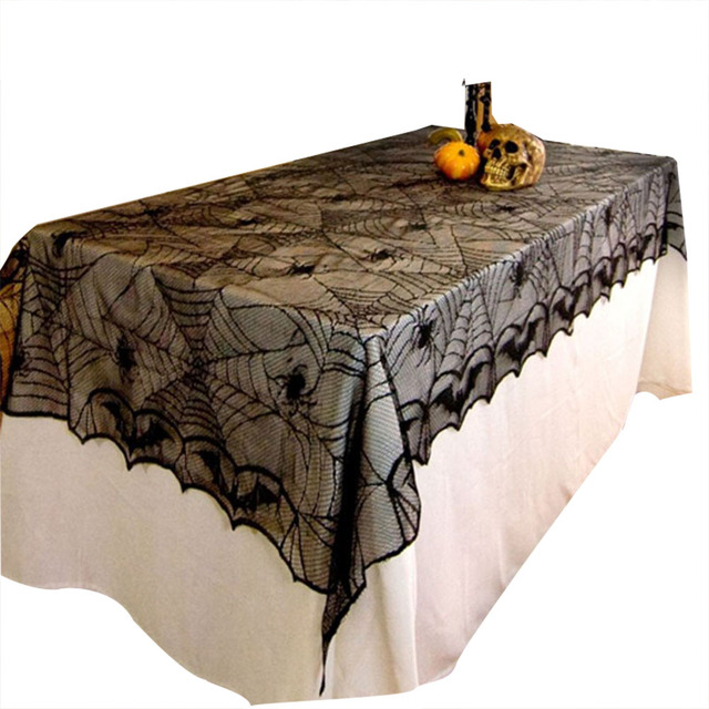 1PCS Halloween Rectangle Black Lace Spider Bat Table Cloth Halloween  Decoration Horrifying Spider Web Party Tablecloth