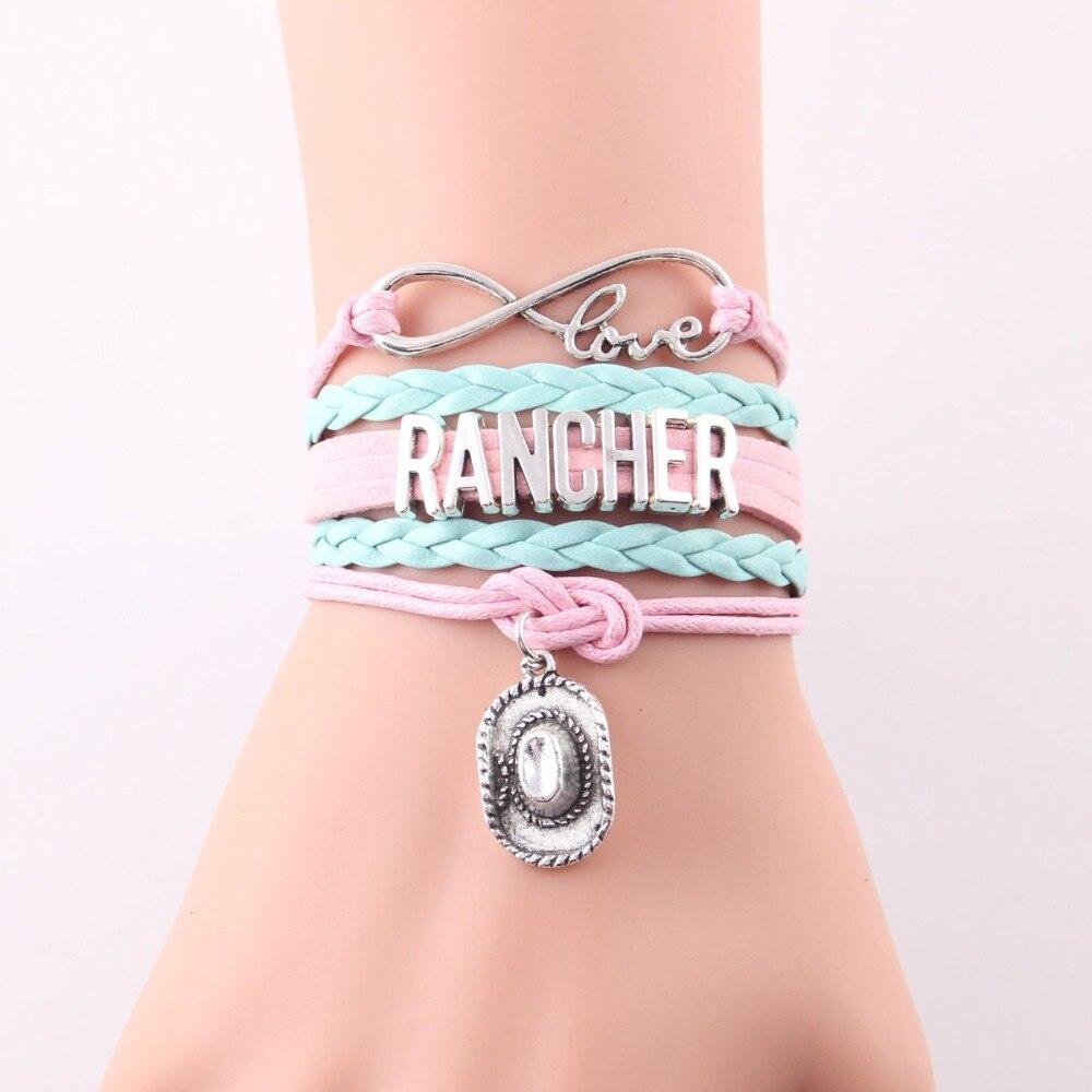 Little Minglou 4 colors infinity love RANCHER bracelet cowboy hat ...