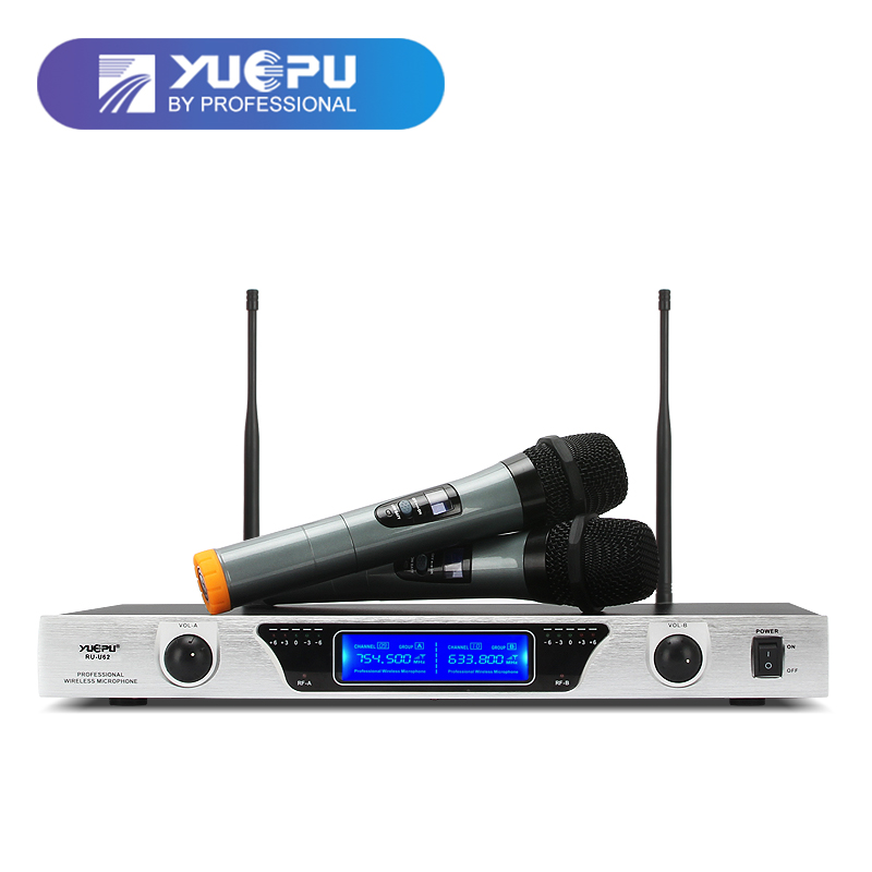 YUEPU RU-U62 Professional UHF Fixed Karaoke Microphone Wireless System Dual Channel 2 Handheld Mic For Church Speech Family Use ur6s professional uhf karaoke wireless microphone system 2 channels cordless handheld mic mike for stage speech ktv 80m distance
