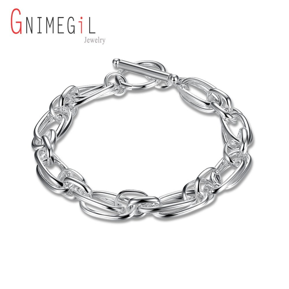 GNIMEGIL Silver Plated Link Chain Bracelet Geometric