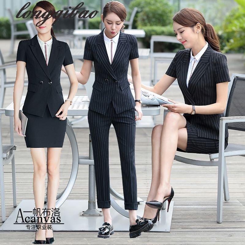 2f24bba0b645 Women summer Fashion Formal Suits Elegant Office Lady Career Work Wear  Casual 2 piece set Tops and Pants Plus Size Women Sets TB-in Women's Sets  from ...