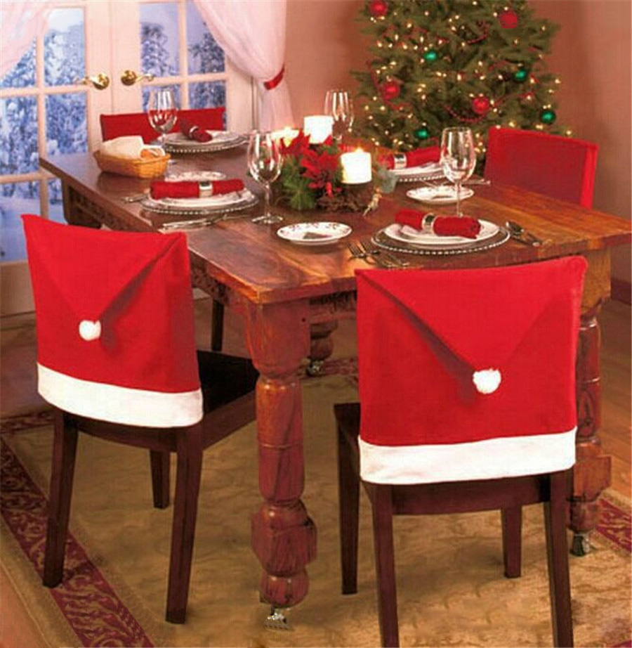 Christmas Santa Red Square Top Chair Covers Hat Decor For Dining Room