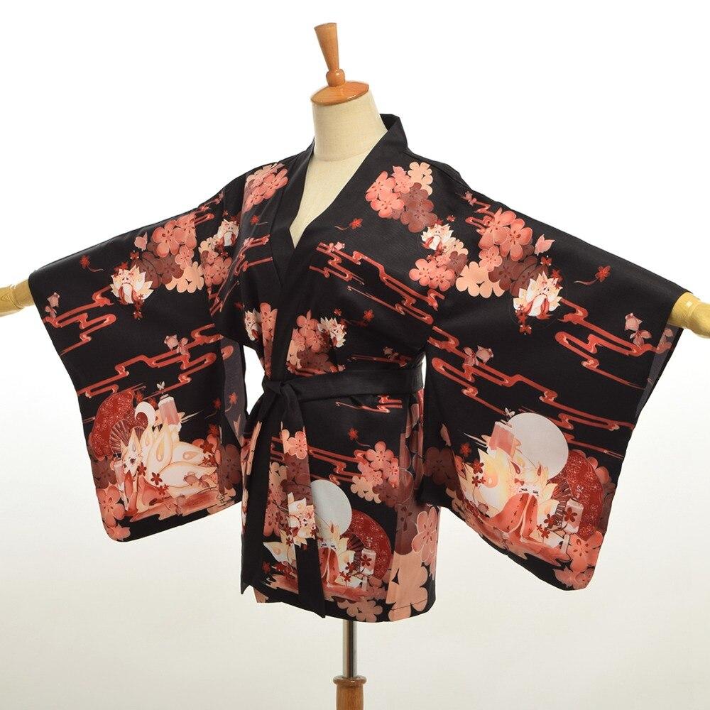 Frauen Japanischen Stil Fantasie Fuchs Druck Kimono Sleeve Haori Mantel mit Gürtel